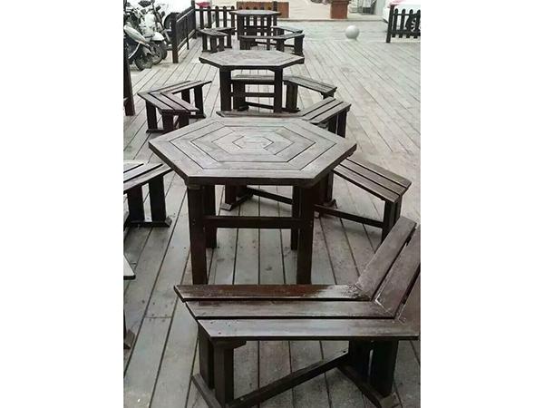 劲爆体育nba直播视频碳化木六角休闲桌椅